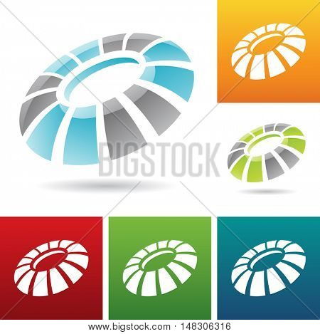 illustration of revolving round abstract icons
