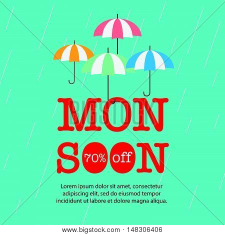 Monsoon Sale With Umbrella Background