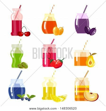 Smoothie menu decorative icons with fruit and berry drinks in glass container with straw isolated vector illustration