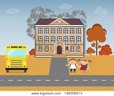 Children near the school. There is a school, school bus, pupils in the picture. Vector flat illustration