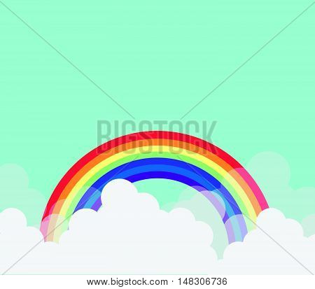Monsoon Season Sale Background With Cloud And Rainbow