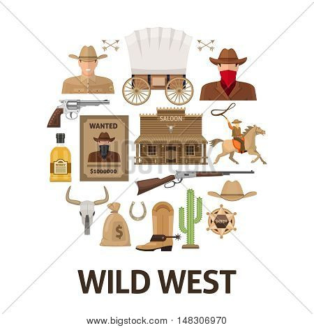 Wild west round composition with wooden building and weapon cowboy sheriff and bandit isolated vector illustration