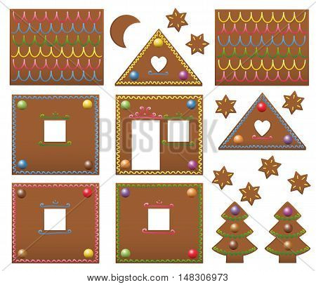 Gingerbread house template components with colorful candies - isolated vector illustration on white background.