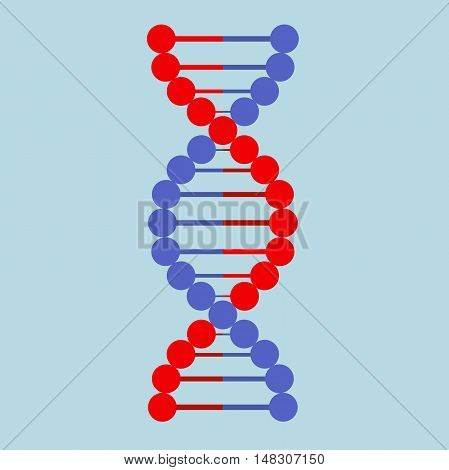 Vector colour illustration DNA icon flat, abstract DNA strand symbol. Isolated on white background. Vector illustration