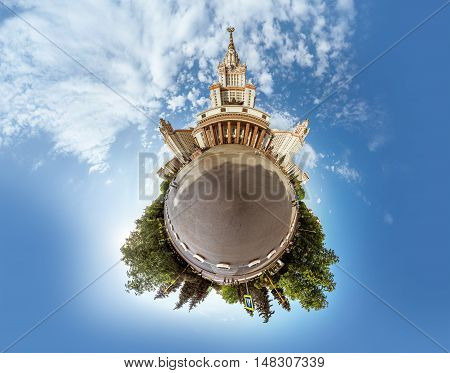 Little planet panorama of Lomonosov Moscow state university