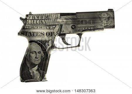 Handgun and American cash composite
