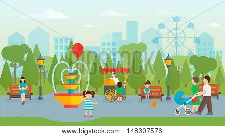 City park with people flat design including fontain and street food benches and lanterns vector illustration