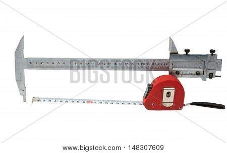 caliper with a tape measure on a white background