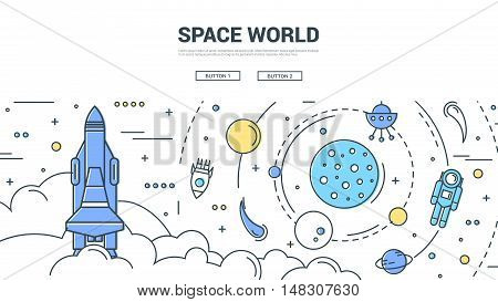 Space world horizontal linear concept with solar system comets and asteroids shuttle and rockets vector illustration