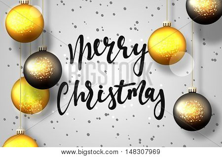Merry Christmas and Happy New Year card design. Text handmade calligraphy Merry Christmas. Gray background with snowflakes and bright highlights, Christmas balls, greeting card