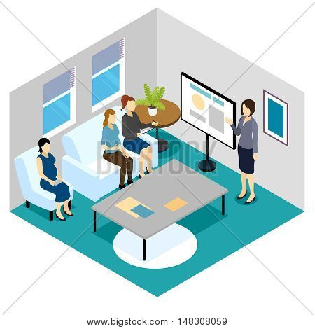 Lecture for pregnant women isometric composition including speaker and future moms sitting on white furniture vector illustration