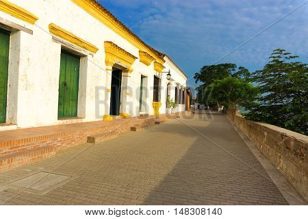 White colonial architecture and beautiful blue sky in Mompox Colombia