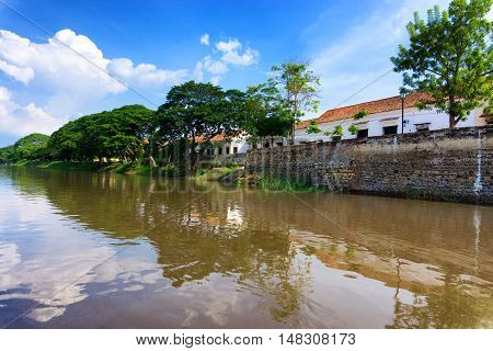View of the Magdalena River and historic colonial Mompox Colombia