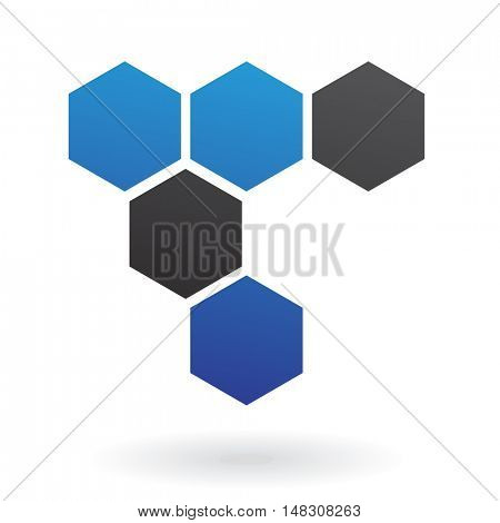 Blue and black honeycomb logo icon and design element