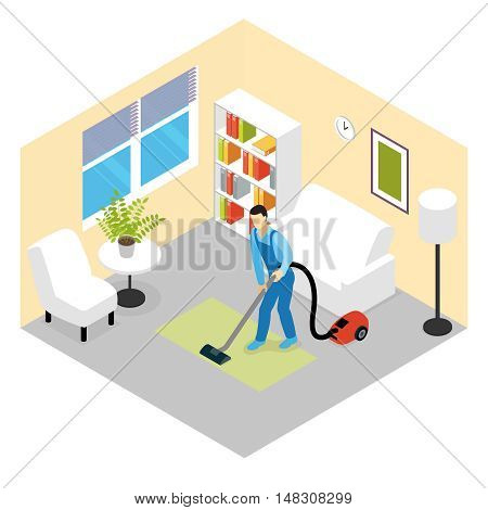 Cleaning service isometric scene with worker vacuuming green carpet in room with white furniture vector illustration