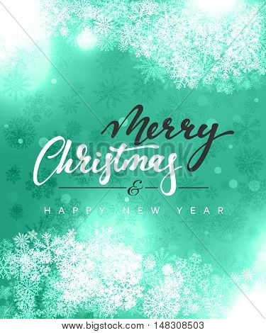 Merry Christmas and Happy New Year concept greeting card design. Postcard background for print or banner to your website. Handmade calligraphy Merry Christmas. Holiday background vector image greeting