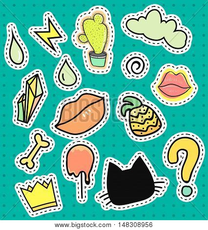 Set patch badges. Cartoon patches collection lips, ice, cactus, lightning, crown, fruit pineapple, stone diamond. Design element vector illustration