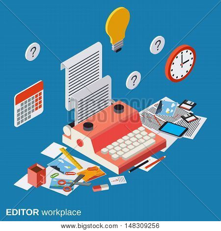Editor, journalist, copywriter workplace flat isometric vector concept illustration