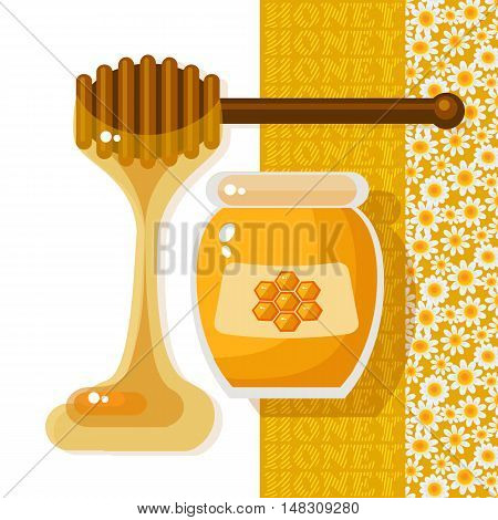 Vector illustration with glass jar full of honey and wooden stick on white background.  Natural delicious healthy nutrition golden honey. Sweet food vector.