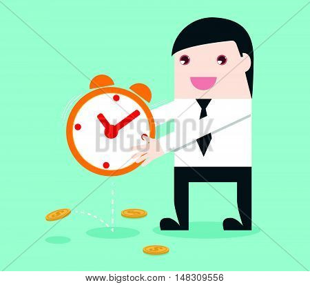 Businessman Shake The Clock To Make Money