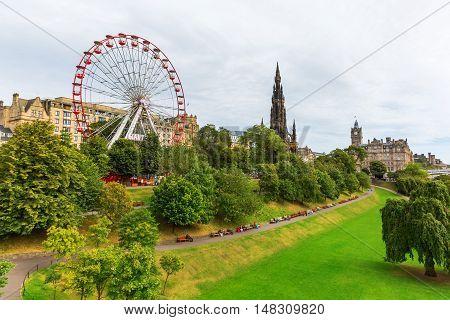 Princes Street Gardens In Edinburgh, Scotland