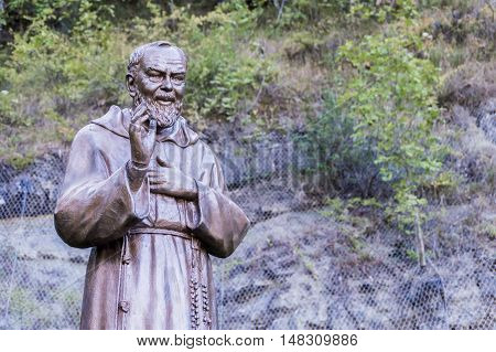 Statue of Saint Father Pious in the Shrine Italy