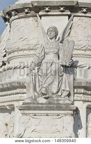 Detail of a column on Afonso de Albuquerque Square in Lisbon