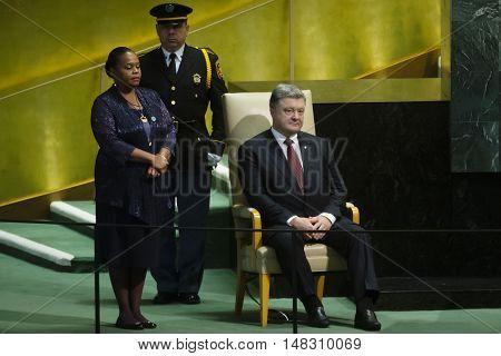 President Of Ukraine Petro Poroshenko During On Un General Assembly