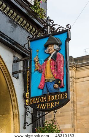 Sign At Deacon Brodies Tavern In Edinburgh, Scotland