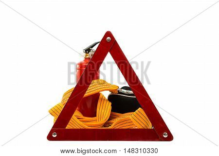 warning sign a fire extinguisher a medical bag on a white background