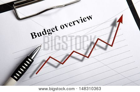 document with title budget overview and diagram close up