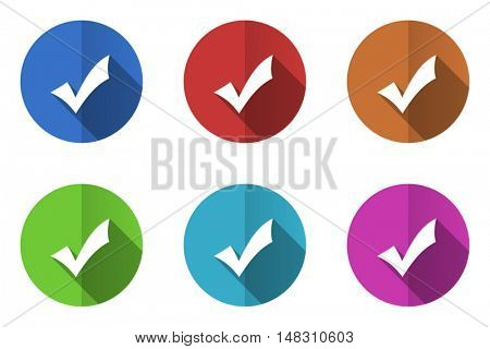 Flat design vector mark  icon set. Eps 10 web colorful buttons.