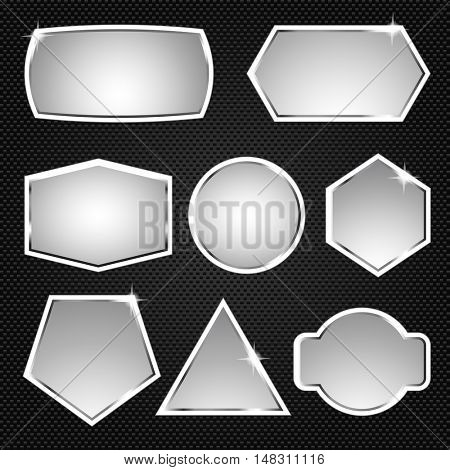 Metallic buttons. Icons. Vector illustration