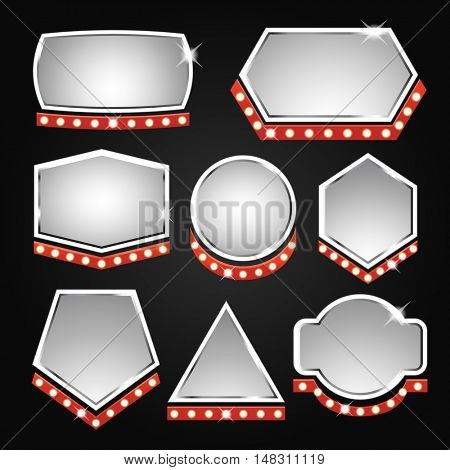 Silver banners frame with lights