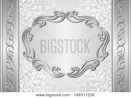 silver background with antique frame - vector illustration