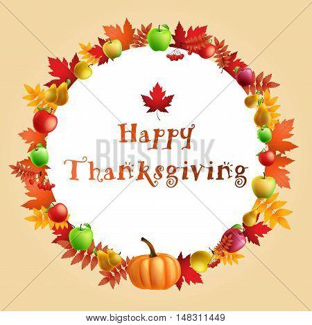 illustration of Thanksgiving celebration banner with maple leaf, apples, pumpkin