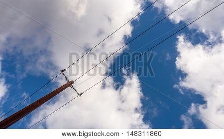 Wooden Electricity Pole And Lines From England