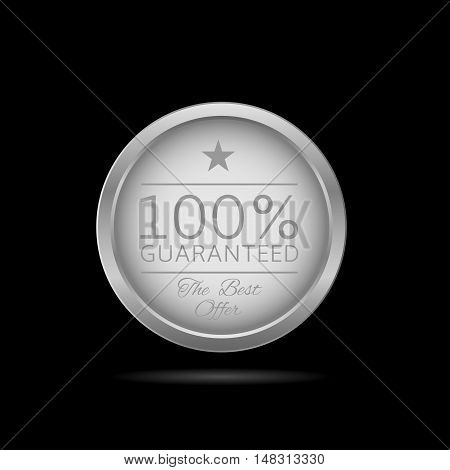 Guaranteed label. Silver metal badge, business theme