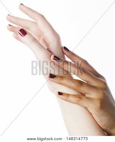 two different nation manicured hands on white isolated, african with caucasian close up, gesturing, making shape spa salon