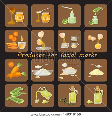 Products for homemade facial mask. Set of face masks flat ingredients. Infographics facials. Set of colored icons for natural cosmetic treatments.