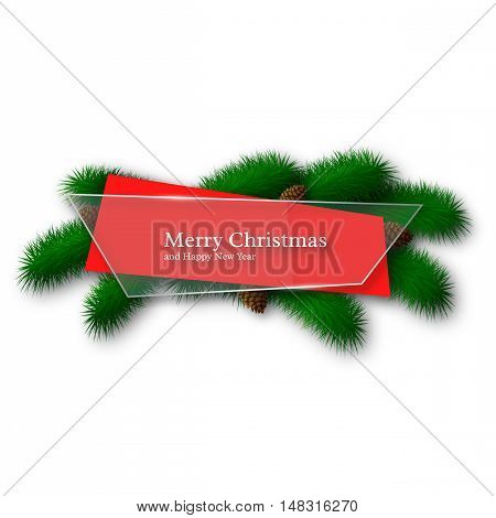 Christmas glass and red abstract banner with pine branches and pinecones. Isolated on white background. Vector illustration.