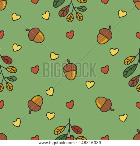 autumn pattern with nuts, leaves, hearts on a green background