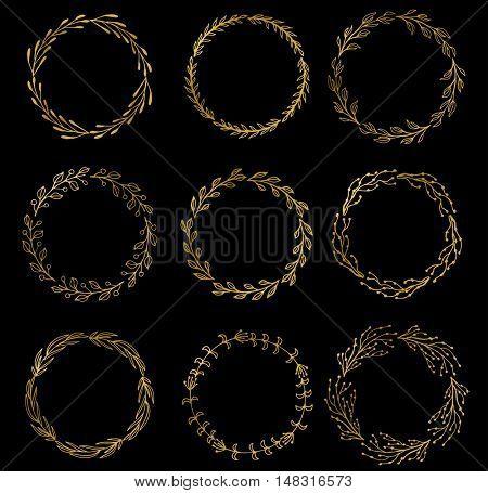 Set of gold wreaths, laurels and branches on dark background, vector illustration. Vector golden wreath. vintage wreath set.