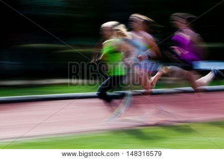 Abstract Motion blur of a track and field race