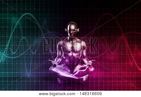 Sound System of the Future with Earphones Playing Music 3d Illustration Render
