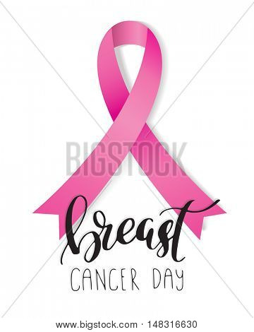 Breast Cancer Awareness pink silk ribbon symbol with lettering phrase