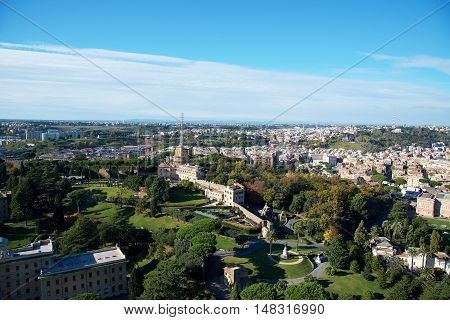 View from the dome of St. Peter's Basilica on Vatican Gardens