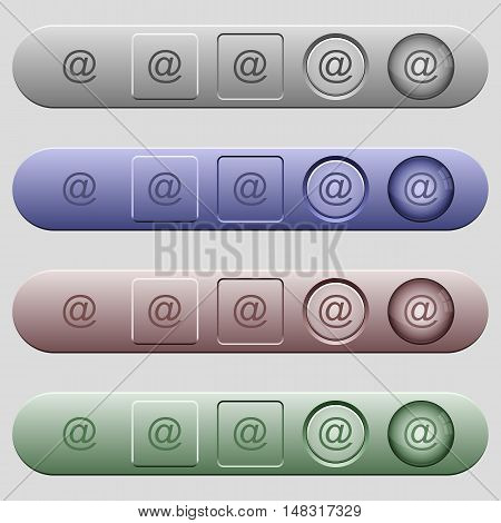 Email icons on rounded horizontal menu bars in different colors and button styles
