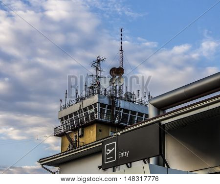 Air Traffic Control tower essential to aircraft operations at a busy airport