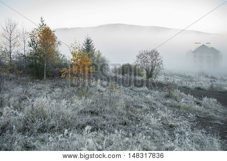Foggy morning in the mountains Ukraine Carpathian Mountains